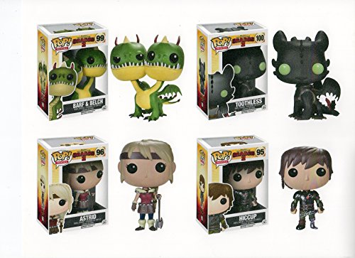 How to Train Your Dragons 4pc Pop Figure Set – Hiccup – Astrid – Barf & Belch & Toothless Bundle