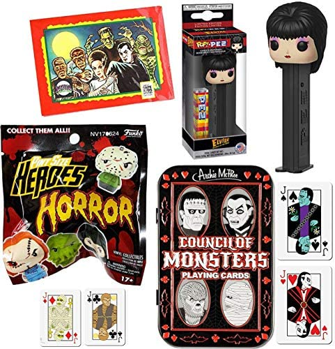 Lady of Horror Pint Size Figure Bundled with Pop! Elvira PEZ + Council Monsters Playing Cards Tin + Universal Trading Pack 4 Items