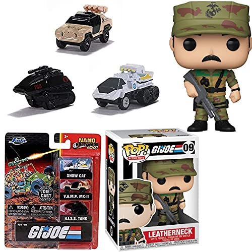 Leather G.I. Joe American Hero Marine Leatherneck Pop! Figure Retro Toys Bundled with Hollywood Rides Off Road Vehicles Vamp, H.I.S.S., and Snow Cat Action 2-Items