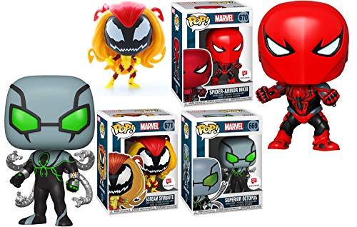 MKIII Spider-Man Marvel Pop! Heroes Exclusive Figures Bundled with Armor + Scream Symbiote + Superior Octopus Vinyl 3 Items