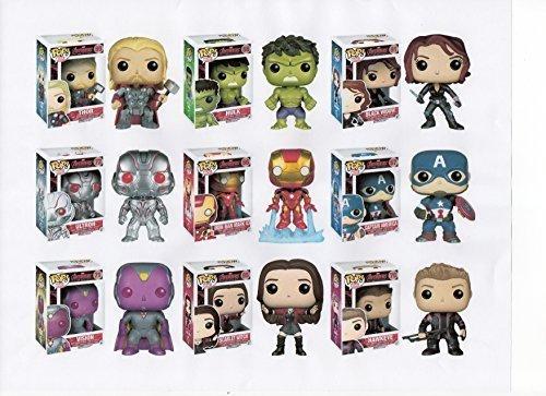 "Marvel Avengers Series Two 3.75"" Pop 9PC Figure Set Thor Hulk Black Widow Ultron Iron Man Mark 43 Captain America Vision Scarlet Witch & Hawkeye"