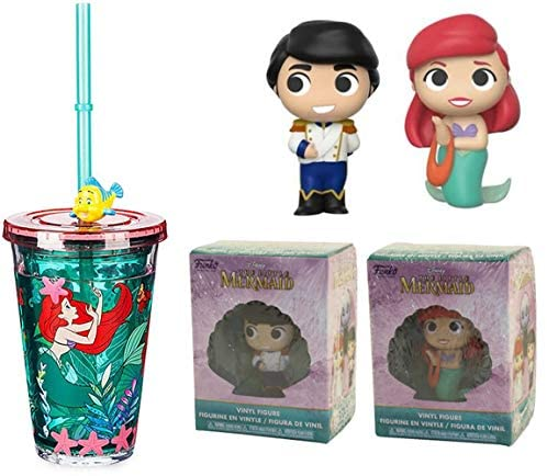 Mer Mini Figure Little Mermaid Princess Ariel Disney Bundled with Character Cartoon Tumbler + Prince Eric 3 Items