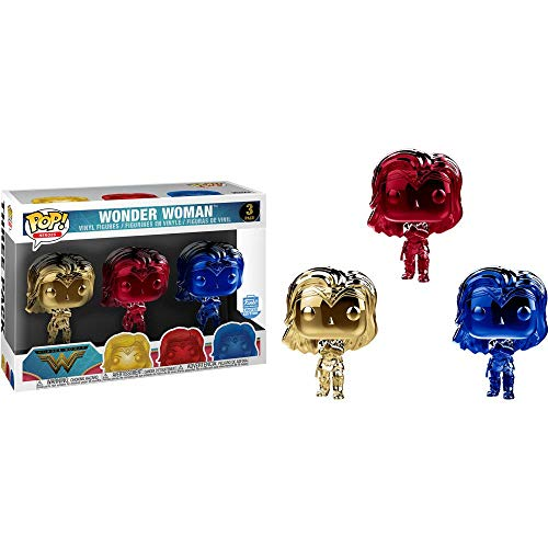 POP! Heroes: Chrome Wonder Woman 3-Pack (FunkoShop Limited Edition)