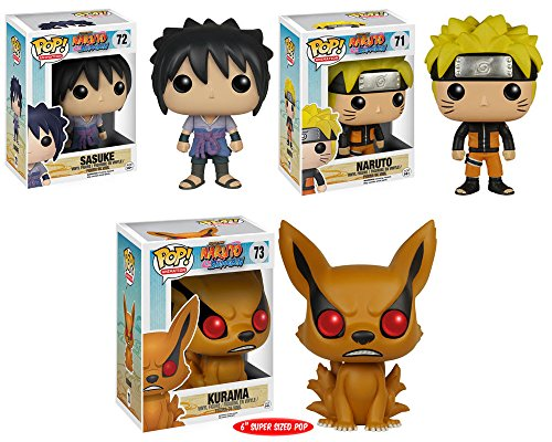 "Pop! Anime: Naruto - Sasuke, Naruto and Kurama 6""! Vinyl Figures Set of 3"