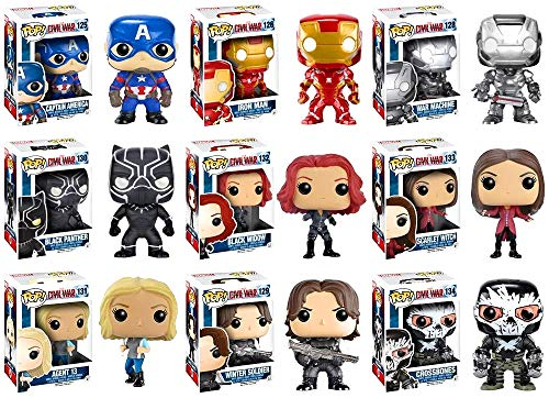 Pop! Marvel: Captain America: Civil War Captain America, Iron Man, Black Widow, Scarlet Witch, Black Panther, Winter Soldier, War Machine, Agent 13 and Crossbones Vinyl Figures! Set of 9