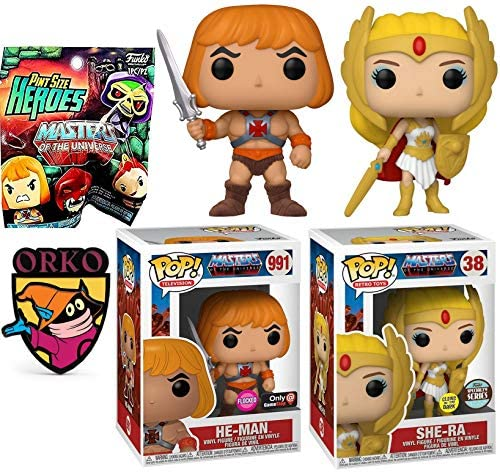 Power She-Ra Princess Figure Pop! Masters of The Universe Glow Exclusive Bundled with He-Man Flocked Sword + Orko Wizard Pin & Pint Size Heroes Blind Bag 4-Items
