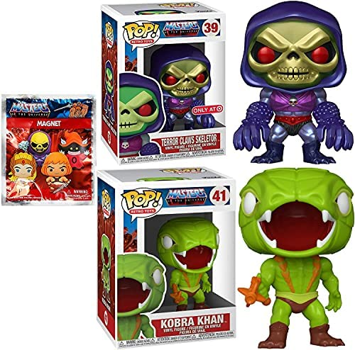 Powers of Skeletor Exclusive Metallic Figure Pop! Masters of The Universe Bundled with Kobra Khan + He-Man Character Magnet 3 Items