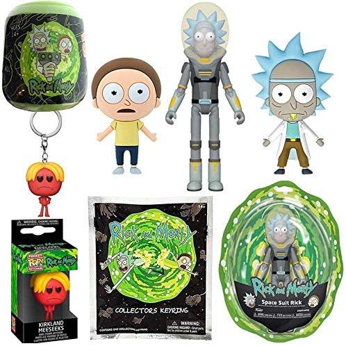 Rick's Action Space Suit Rick & Morty Figure Bundled with Mr. Meseeks Pocket Pop! + Intergalactic Character Bag Clip Hanger + Snapz Capsule + R & M 3D Foam Magnet Set Shwifty Pack 5 Items