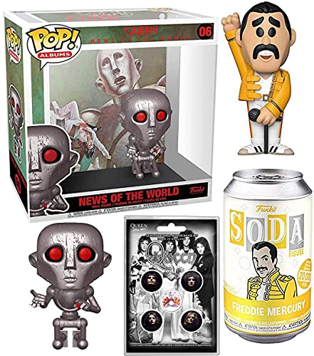 Rock You Queen Album Figure Rocks in Case Bundled with Star Freddie Mercury Tin Can Soda Pop! Vinyl Singer + News of The World & Pin Badge Set Collectible 3 Items