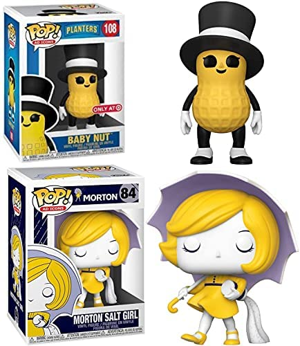 Salted Nut Pop! Figure Mr. Peanut Baby Mascot Ad Icon Exclusive Character Bundled with Lil' Nut Compatible with Planters + Morton Salt Girl 2 Items