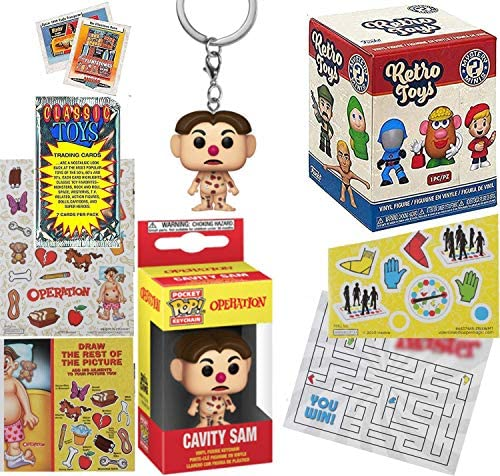 Sam Operate Retro Fun Mystery Minis Figure Bundled with Cavity Sam Pocket Pop! Operation + Twisted Maze + Game Classic Stickers + Vintage Toy Trading Cards 6 Items