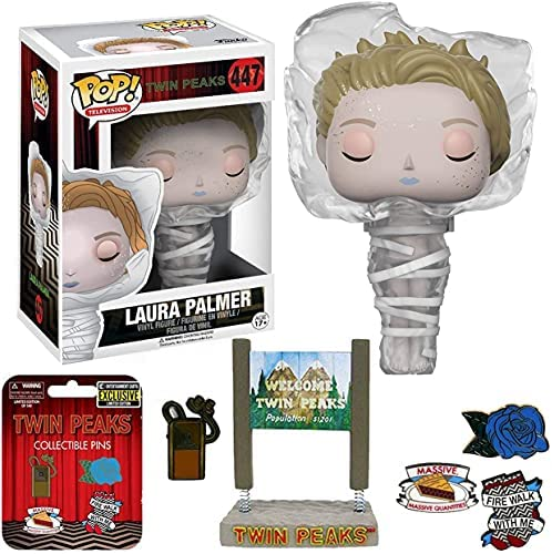 Show Moment Twin Peaks TV Series Figure Laura Palmer Pop! Wrapped in Plastic Bundled with Exclusive Pin Set + Welcome Mysterious Sign Bobble 3 Items