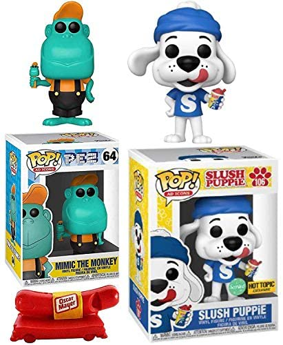 Smell Puppy Pop! Figure Exclusive Slush Puppie Character Ad Icons Bundled with Mimic Pez Monkey + Oscar Mayer Weinermobile Whistle 3 Items