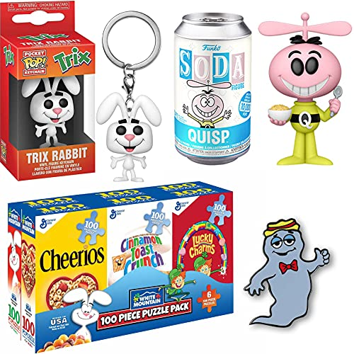 Space Quisp Alien Ad Icon Figure Retro Soda TIn Can Bundled + Boo-Berry Ghost Pin + Trix Rabbit Pocket Pop! + Morning Cereal Mini Box Puzzles 4 Items