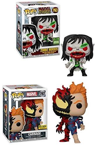 Spidey's Craziest Villains Funko Pop! Figure Bundle - Zombie Morbius 763 Convention Exclusive + Carnage 797 Store Exclusive (2 Items)