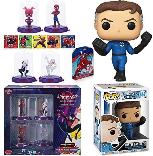 Stretch Mr. Fantastic Four Pop! Figure Reed Richards Bundled with Spider-Man Domez Exclusive Into The Spiderverse + Mini Stickers Web Action 3 Items