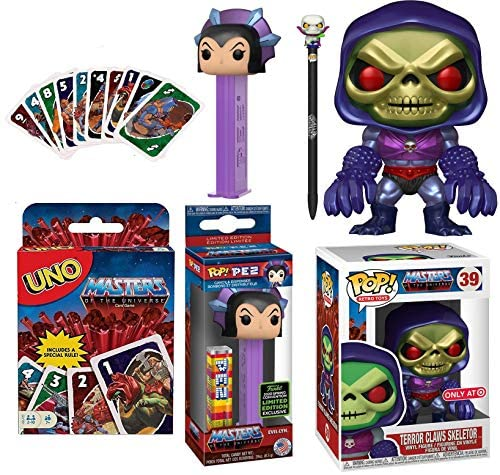 Supervillainess Evil-Lyn + Skeletor Exclusive Metallic Figure Pop! Masters of The Universe Glow Bundled with Pez Head Dispenser + Scareglow Pen + Uno Matching Game 4 Items