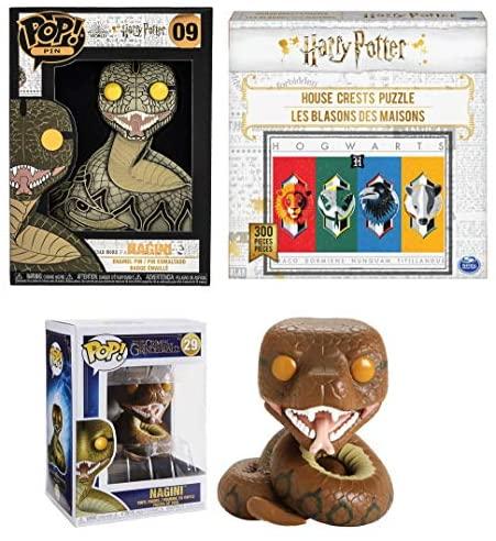 The Last Horcrux: Nagini Funko Pop! Pin Bundle- Nagini Pop! Pin 09 + Nagini Pop! 29 + Harry Potter House Crests Puzzle 300 Pcs