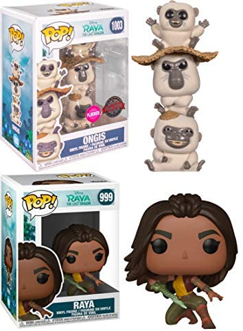 The Little Thieves W/ The Main Character: Funko Pop! Disney's Raya and The Last Dragon Bundle - Ongis 1003 Flocked Convention Exclusive + Raya 999 (2 Items)