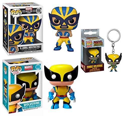 The Many Faces of Logan Pocket Pop! + Funko Pop! Figure Bundle - Zombie Wolverine Pocket Pop! / El Animal Indestructible 711/ Wolverine Original 05 (3Pcs)