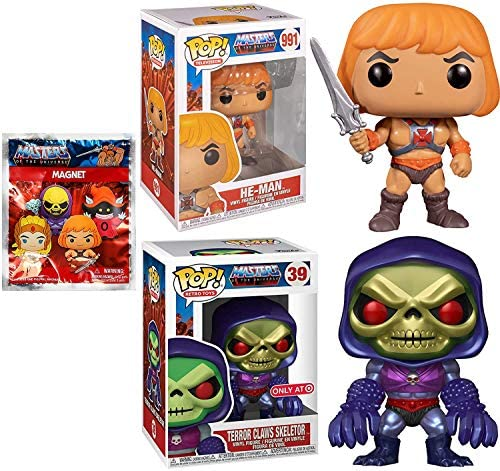 The Mighty Power of He Man with Sword Figure Pop! Masters of The Universe Bundled with Skeletor Exclusive Metallic + He-Man Character Magnet 3 Items