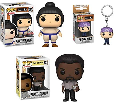The Other Guys from The Show: The Office Funko Pop! + Pocket Pop! Bundle: Prison Mike Pocket Pop! + Andy Bernard (Sumo) 1061 Store Exclusive + Darryl Philbin 873 (3 Pack)