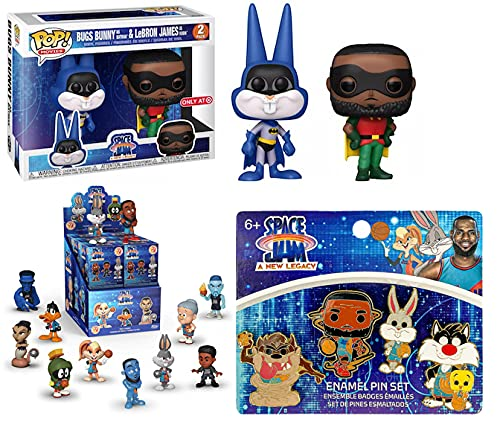 The Space Jams Is Back! POP! Movies Pack Bugs Bunny As Batman + LeBron James as Robin Funko: A New Legacy Mystery Minis Blind Box Vinyl Figure/ Funko POP! 4pc Enamel Pin Set Tune Squad 3 items