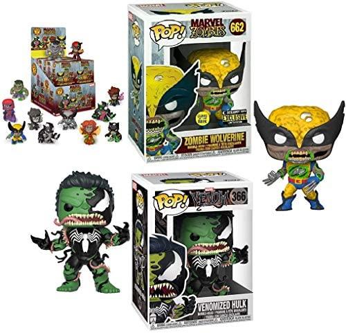 The Ultimate Fight is Going Down Funko Pop! Pack: Zombie Marvel Zombie Wolverine Glow in The Dark Exclusive 662 VS Marvel Venom Venomized Hulk 366 + Bonus Funko Marvel Zombie Mystery Mini Blind Box