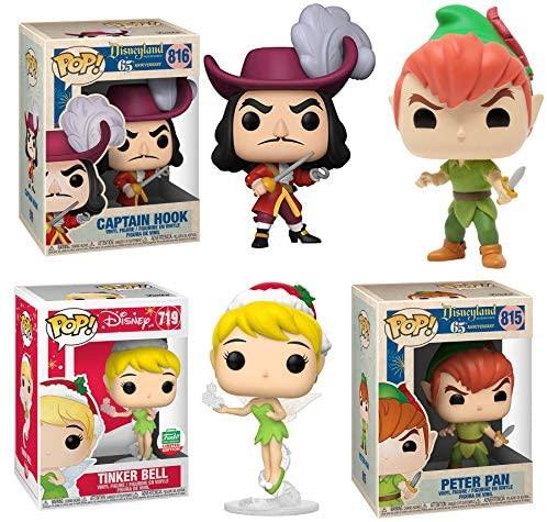 Tink Hook & Peter Pop! Figure Vinyl Characters Bundled with Exclusive Tinker Bell + Peter Pan + Captain Hook 3 Items