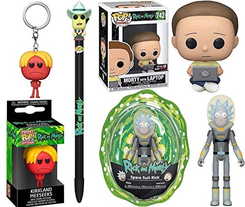Topper Rick & Morty Gamer Mort Pop! Figure Exclusive Bundled with Intergalactic Character Figures Space Rick & Laptop Morty + Mr. Meeseeks + Pen Shwifty Pack 4 Items