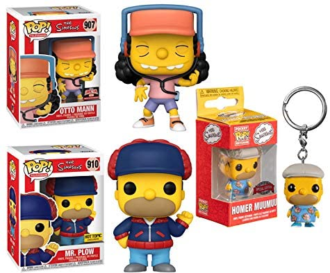 When Springfield Comes Calling- Pocket Pop! Funko Pop! Simpsons Bundle (3 Pcs) Otto Mann 907 Store Exclusive/ Mr. Plow (Homer) 910 Store Exclusive/ Homer Muumuu Pocket Pop! Exclusive