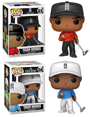 Who's That Wearing Blood Red On Sunday? Tiger Woods Funko Pop! Pack - Tiger Golf Red Shirt 01 + Tiger #04 Fanatics Exclusive Bundle