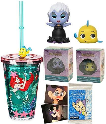 Yellow Flounder Figure Little Mermaid Disney Bundled with Character Cartoon Tumbler + Ursula Villain + Snow White Trading Cards 4 Items