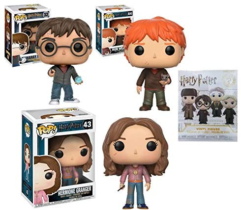 in The World of Wizards Harry Potter Pop! Figure Bundled Hermione Granger 43 Harry Potter 32 Ron Weasley 44 + Bonus Harry Potter Mystery Mini Blind Box (4 Items)